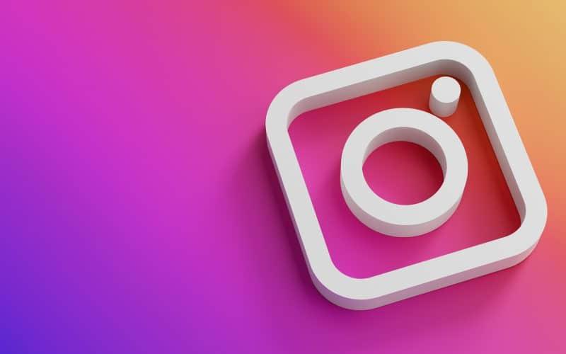 instagram logo minimal simple design template copy space 3d
