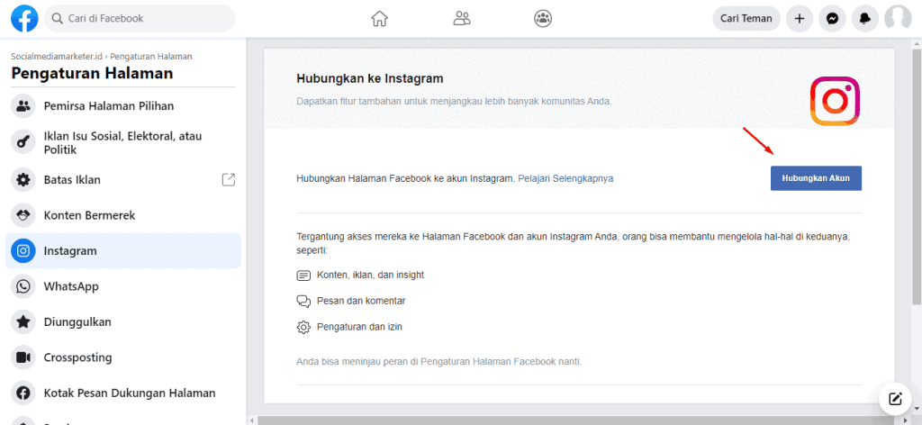 setting halaman facebook