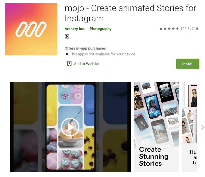aplikasi desain instagram story mojo