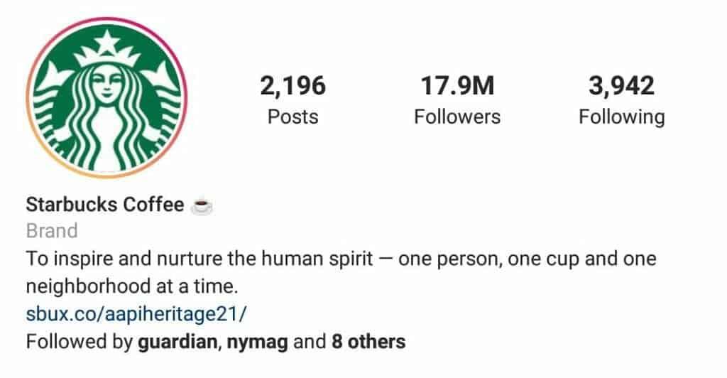 instagram bio starbucks